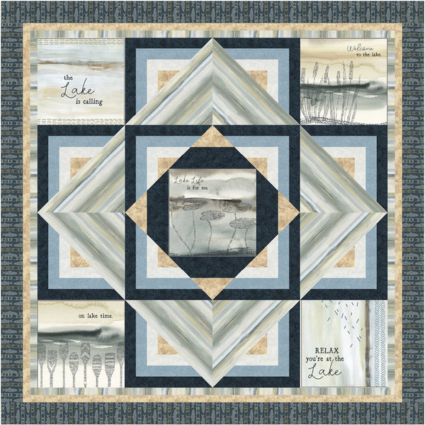 Lake Escape<br>Quilt & Pillow by Cyndi Hershey<br>Available August 2021.