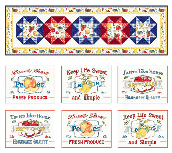 Fruit Stand<br>Table runner & placemats by Cyndi Hershey<br>Available Feb. 2021.