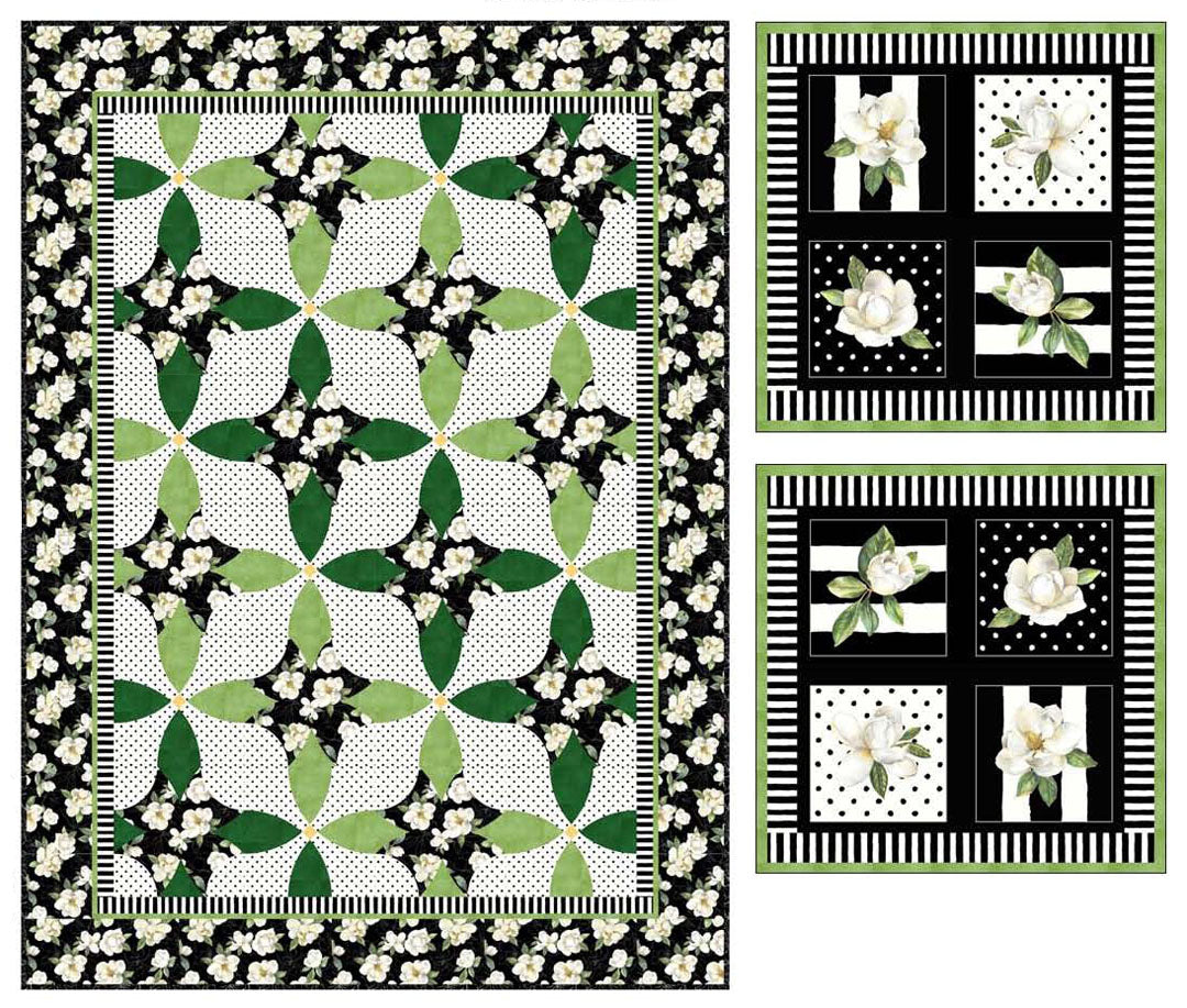 Magnolia<br>Quilt & Pillows by Cyndi Hershey<br>Available Now!.