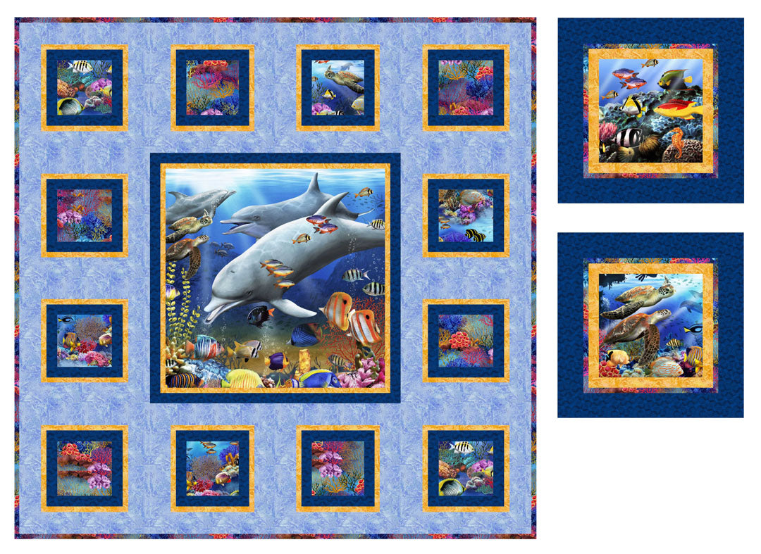Underwater Fantasy<br>Quilt & Pillows by Cyndi Hershey<br>Available Now.