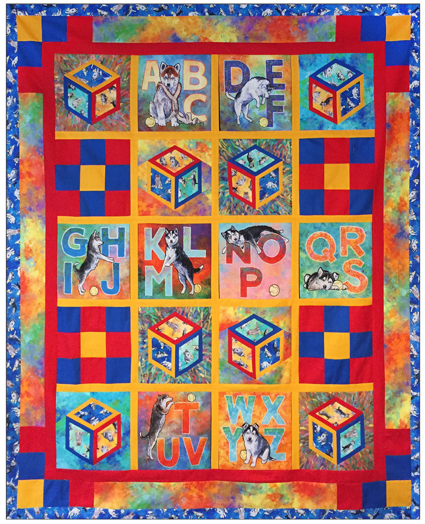 """Silly Siberians"" Free Easy to Sew Quilt Pattern designed by Chris Francis from P & B Textiles"
