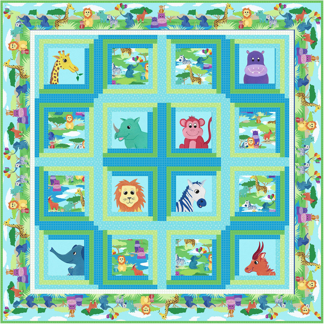 Smiling Safari Friends<br>Quilt by Cyndi Hershey<br>Available August 2021.