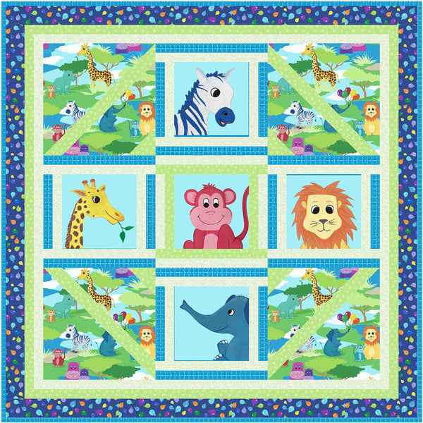 Smiling Safari Friends<br>Play Quilt by Cyndi Hershey<br>Available August 2021.