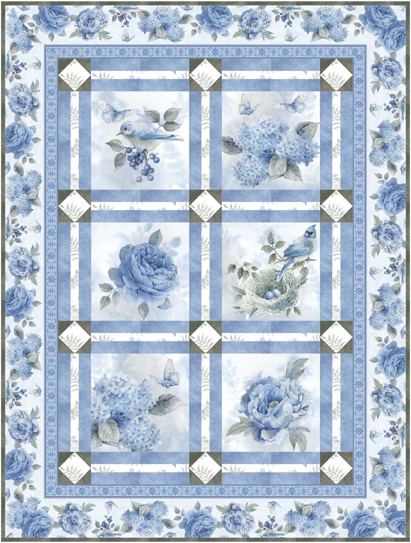 """Spring Blue"" Free Spring Quilt Pattern designed by Toby Lischko from P & B Textiles"