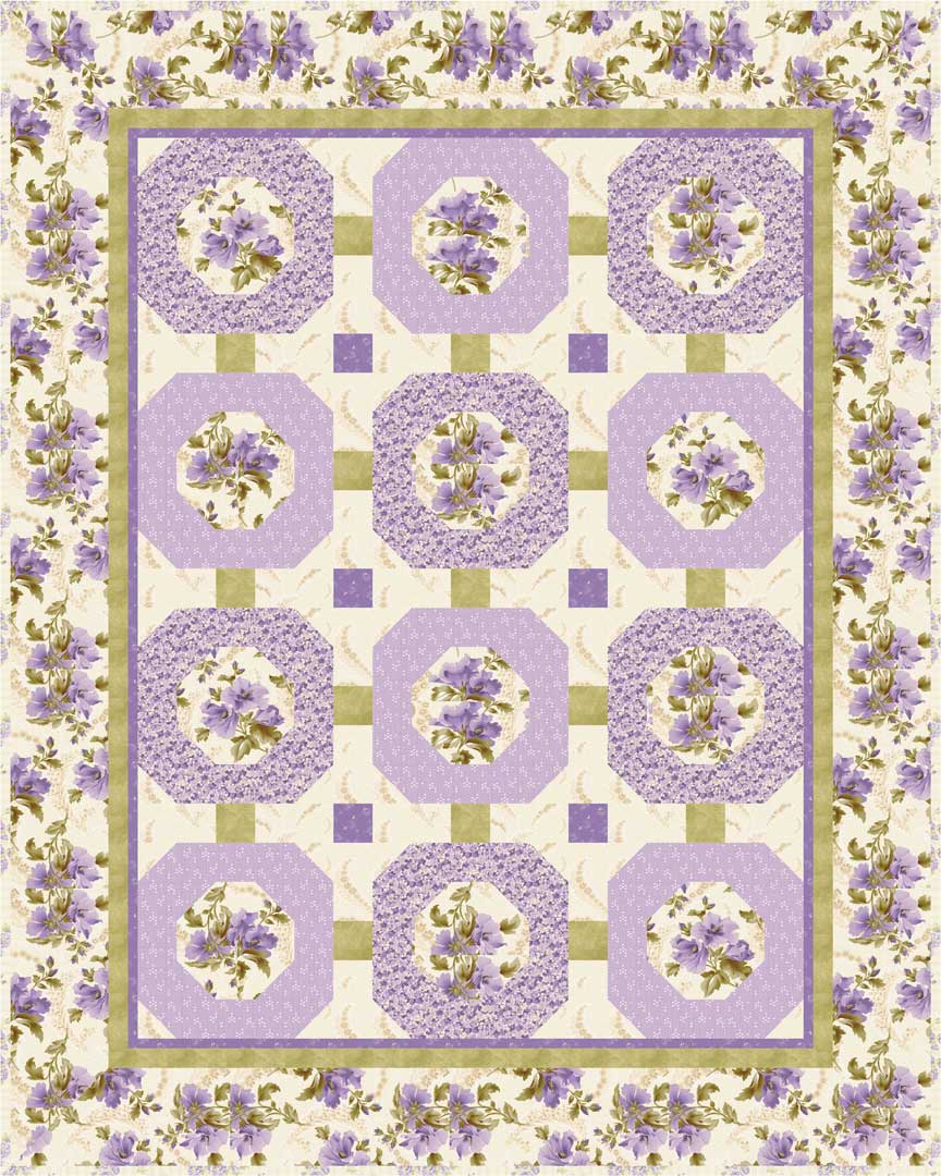 """Amelie"" Free Spring Quilt Pattern designed by Cyndi Hershey from P & B Textiles"
