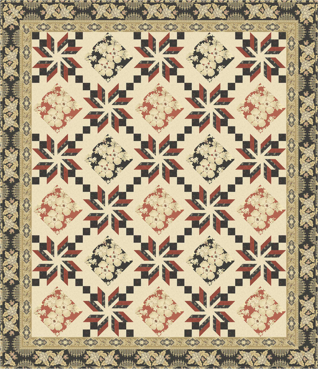 Eden Quilt<br>by Toby Lischko<br>Vintage Prestige Collection<br>Pattern for Purchase<br>Available January 2019