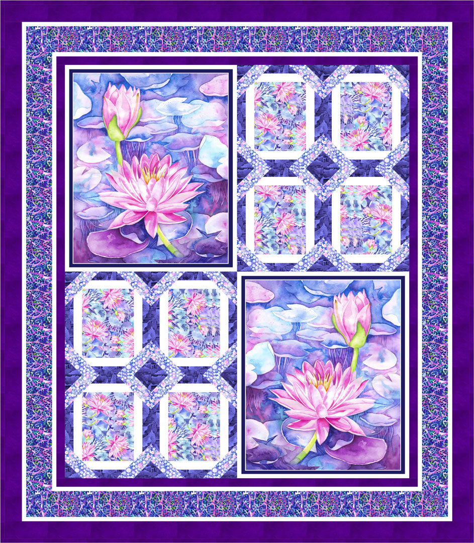 Water Lily Quilt #2<br>by Cyndi Hershey<br>Available June 2019
