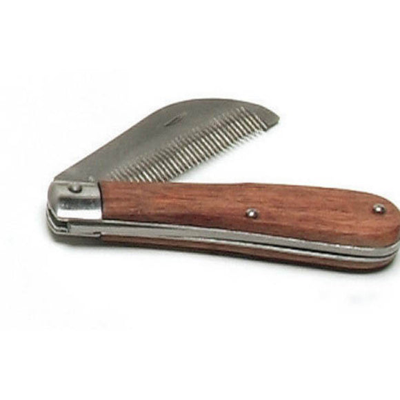 Folding Stripping Comb with Wooden Handle