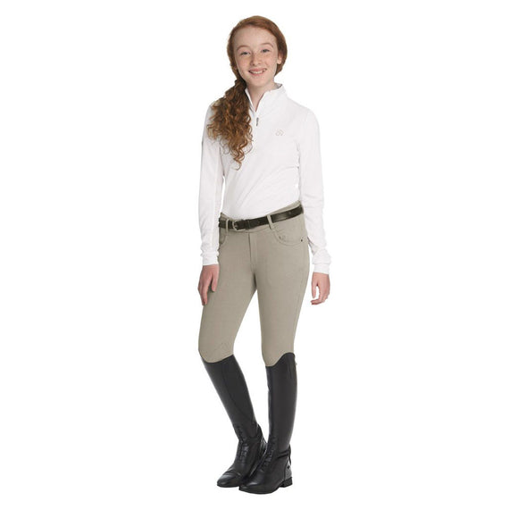 Ovation®Child's Euro Jean Front Zip Knee Patch Breech