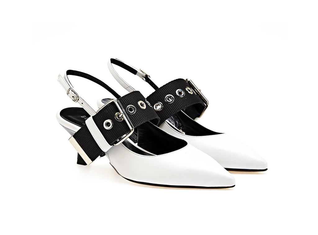 White and black buckle, heels.