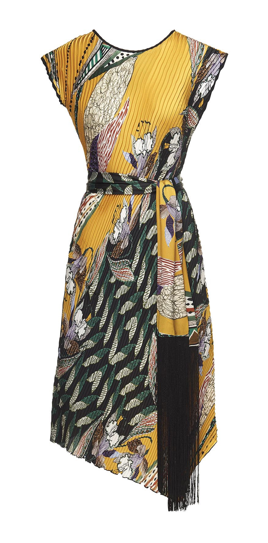 Safari print pleated dress