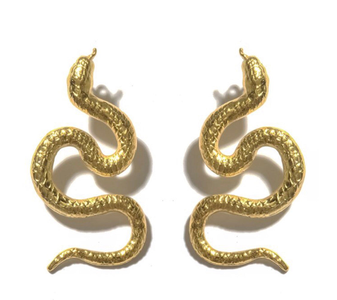 Large 24kt gold Snake Earrings