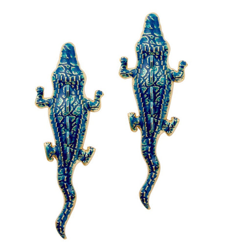 24kt Gold Blue Alligator Earrings
