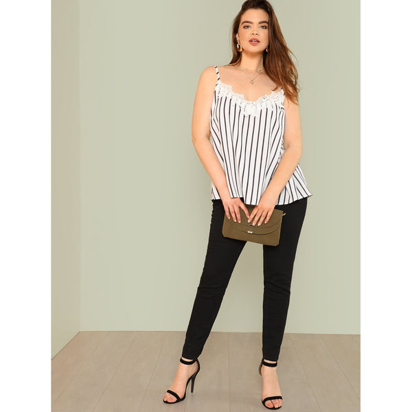 Lace Insert Striped Cami Top