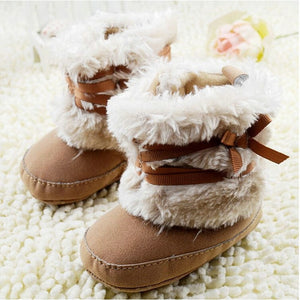 Newborn Baby Girls Bowknot Snow Boots Soft Sole Crib Shoes Warm Fleece Boots