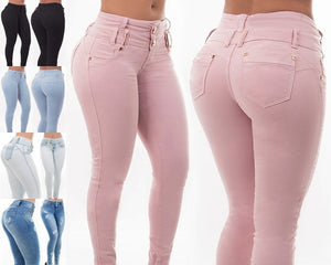 Sexy Women Pink High Waist Jeans Casual Women Denim  Leggings