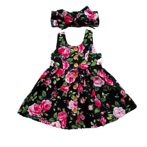 Toddler Infant Girls Summer Floral Dress Party Dresses 0-4Y