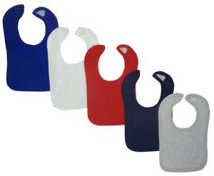 Red White Blue Grey Baby Bibs (Pack of 5)