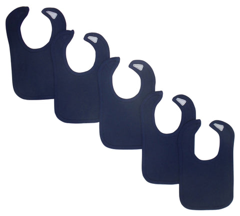 Navy Baby Bibs (Pack of 5)