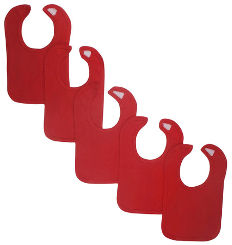Red Baby Bibs (Pack of 5)