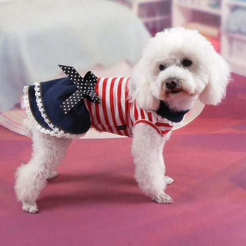 Puppy Dog Pet Stripe Costume Princess Dress Lace
