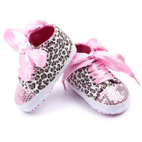 0-12M  Girl Leopard Sequin Sneaker  Non-Slip Lace Up Walking Shoes