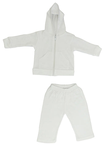 White Interlock Sweat Pants and Hoodie Set