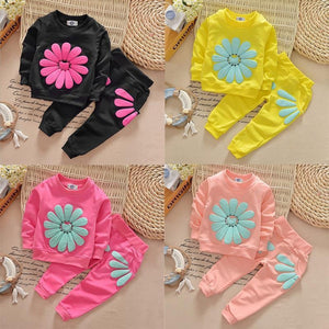 Infant Baby Girls Sun Flower  Tops+Pants Outfit
