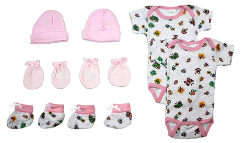Newborn Baby Girls 8 Pc Layette Baby Shower Gift