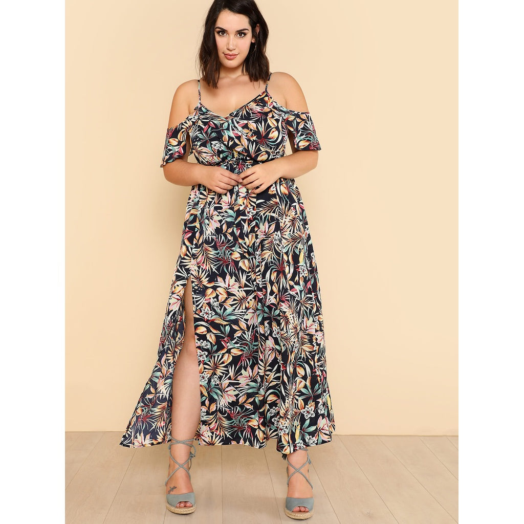 Open Shoulder Tropical Wrap Dress