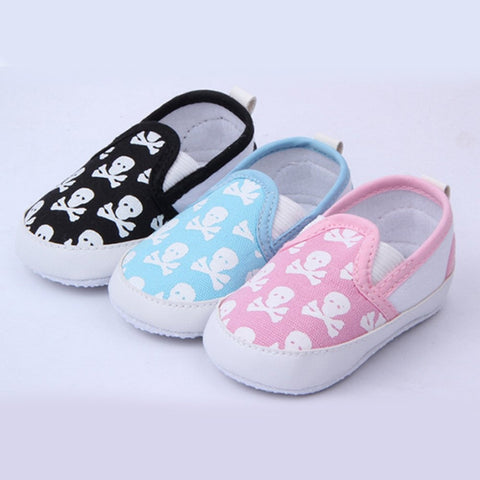 Skull Anti-slip Baby Toddler Canvas Shoes Pre-walkers 3-18M