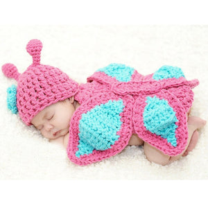 New Born Baby Girl  Butterfly Knit Wool Photo Prop Outfits
