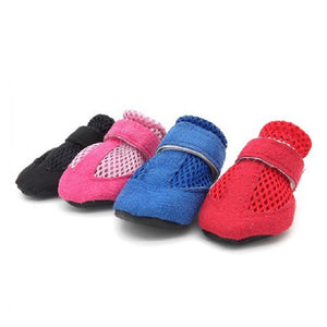 4Pcs/Set Pet Dog Hollow Out PU Leather Sneaker Shoes Puppy Anti-Slip Velcro Boots
