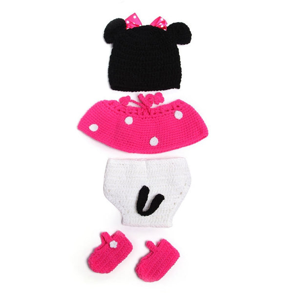 Baby Infant Minnie Mickey Mouse Crochet Knit Costume Photography Props Outfit