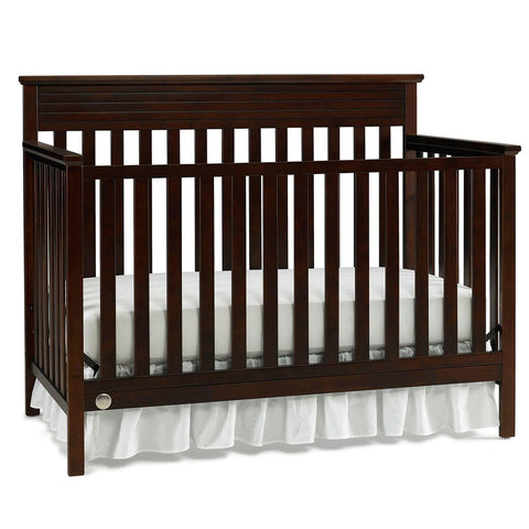 Fisher Price Newbury 4 in 1 Convertible Modern Baby Nursery Crib & Bed, Espresso