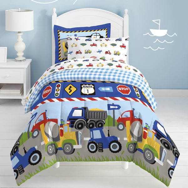 Dream Factory Trucks Reversible Twin Comforter Set with Sheets