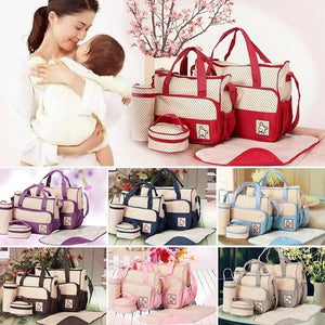 Multifunctional Dot Handbag with Diaper Pad Feeding  Bottle Holder Food Bag