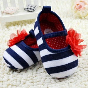 Infant Stripe Flower Crib Shoes Soft Sole Prewalker