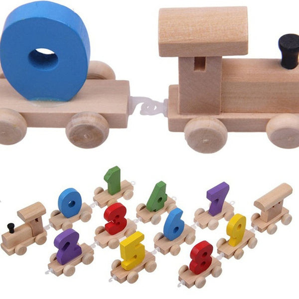 Toddlers Wooden Digital Small Train 0-9 Number Educational Toy