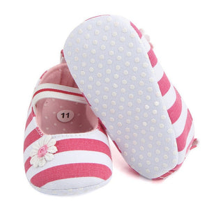 First Walkers Baby Girl Soft Sole Crib Shoes Striped  Prewalker Soft Crib Shoes