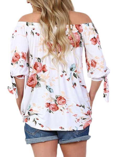 AlvaQ Women Off Shoulder 3/4 Sleeve Cuffed Floral Print Tops (7 Colors, S-XXL)