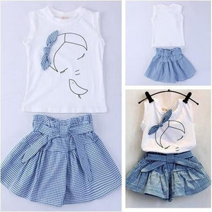 New 2018 Summer Baby Girl  100% Cotton Short sleeve T-shirt+skirts
