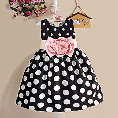 Summe  Girls Sleeveless Dot High Waist O-Neck Bubble Dress