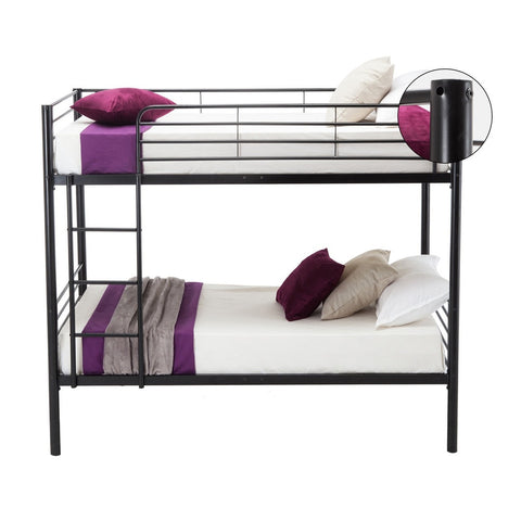 Twin over Twin Steel Bunk Beds Frame Ladder Bedroom  for Kids Adult Children