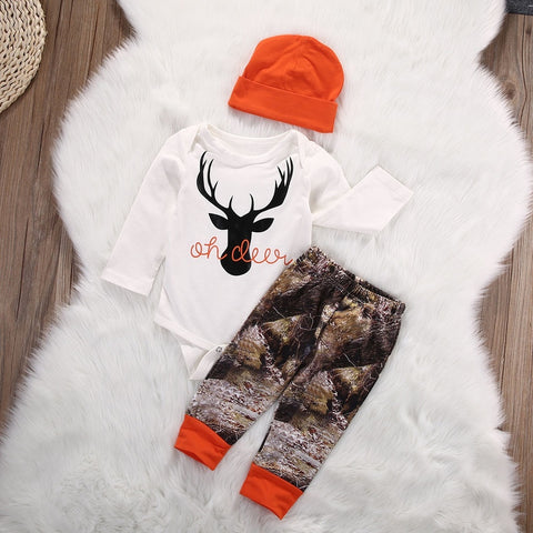 Organic Toddler Baby Boy Girl Deer Romper Long Pants 3pcs Set 0m-18m