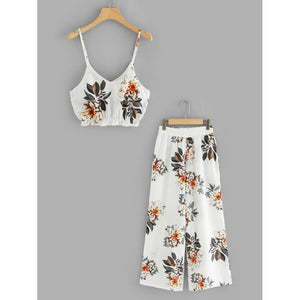 Plus Floral Print Cami With Pants