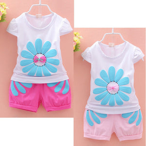 Cute Girls Baby Kids Flowers Tops  Shorts Summer Outfits 6m/3t