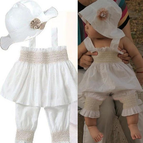 Baby Ruffled Top+Pants+Hat Set 3 Pieces Girls Kids 0-3Y