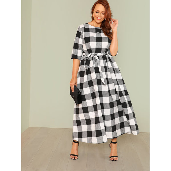 Self Belted Gingham Dress