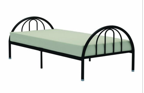 Twin Black Metal Platform Bed Frame with Arch Headboard & Footboard
